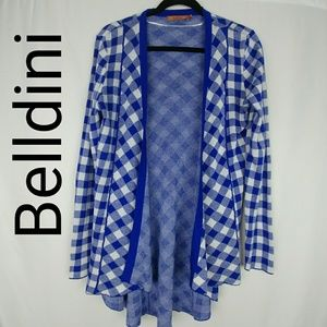 Belldini | Open Front Gingham Cardigan